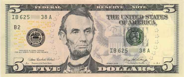 abraham lincoln american dollar banknote cash